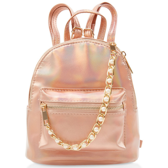 LAST 1 Rose Gold Backpack Small Pearl Holographic